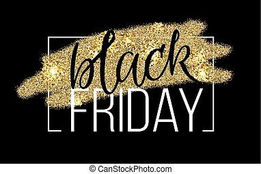 försäljning, svart, banner., rabatt, textning, fredag