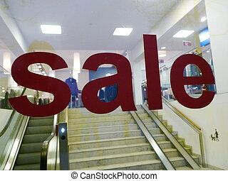 försäljning, text, på, inköp, fönster