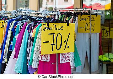 försäljningarna, in, den, textileindustri