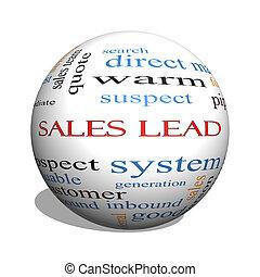 försäljningarna, leda, 3, glob, ord, moln, begrepp