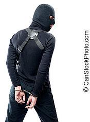 försening, av, a, farlig, terrorist, in, svarting kläder, och, a, maskera