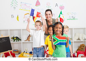 förskola, lurar, med, flaggan