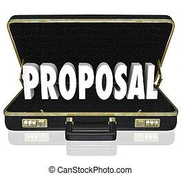 förslag, försäljnings förevisning, öppen portfölj