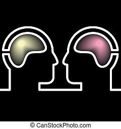 förstånd, vektor, pictogram