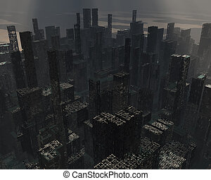 förstörd, stad
