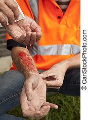 första, aid., olycka, hos, work.