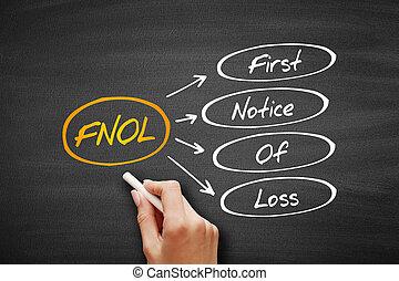 första, förlust, -, fnol, akronym, märka