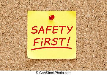 första, säkerhet, anteckna, klibbig