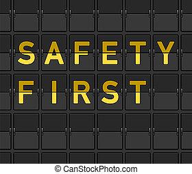 första, säkerhet, bord, flip
