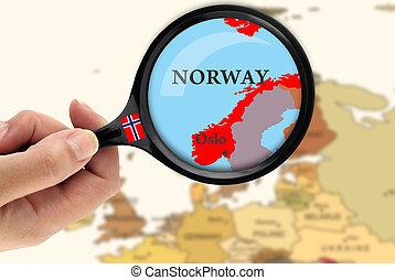 förstoringsglas, över, a, karta, av, norge
