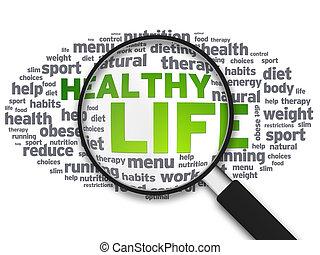 förstoringsglas, -, hälsosam, liv