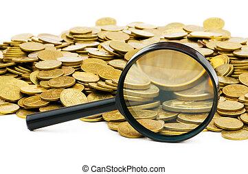 förstoringsglas, och, lott, av, guld peng