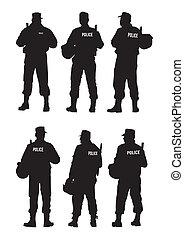 försvar, polis, barriär
