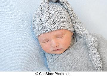 förtjusande, baby, rynkat, grå, hatt, slumrande