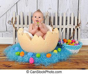 förtjusande, baby sitta, in, gigant, påsk egga
