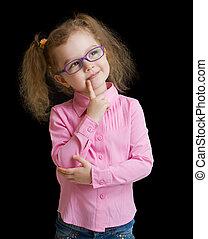förtjusande, barn, flicka, in, glasögon, isolerat, på, svart
