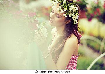 förtjusande, flicka, med, den, blomma, hatt