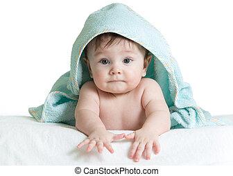 förtjusande, lycklig, baby, in, handduk