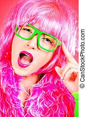 förtjusande, sätt modellera, lockande, in, sexig, färgglatt, clothes., lysande, fashion., pinuppa, rosa, style., optik, eyewear., studio, skott.