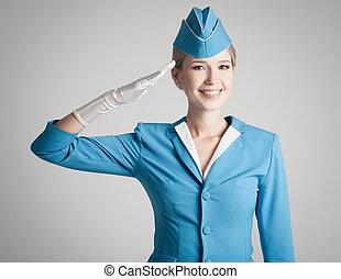 förtjusande, stewardess, klätt, in, blåttlikformig, på, grå...
