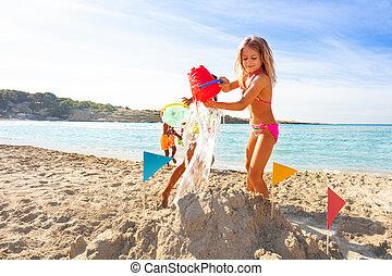 förtjusande, vänner, spel, flicka, strand, leka