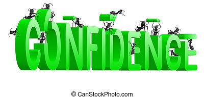 förtroende, byggnad, själv uppskatta
