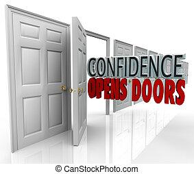 förtroende, det öppnar, dörrar, ord, i dörröppning
