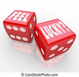förtroende, tärningar, känna, fråga, lycklig, vinnande
