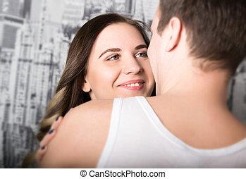 förtrogen, par, ung, ögonblick, avnjut, lycklig