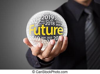 förutsäg, future., boll, glas