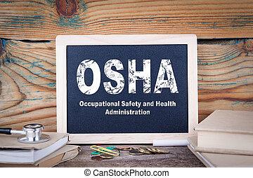 förvaltning, Trä,  osha, säkerhet,  chalkboard, bakgrund, Hälsa, Sysselsättnings