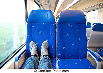 fötter, allena,  trein, resande, Sittplatser