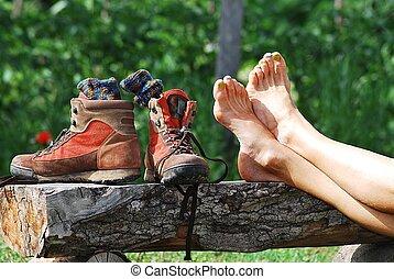 fötter, bar, skor, trekking