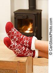fötter, in, jul, sockor