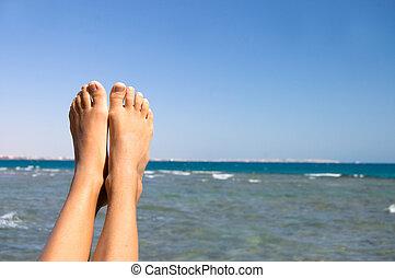 fötter, kvinnlig, mot, hav