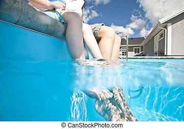 fötter, slå samman, simning