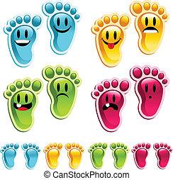 fötter, smiley, lycklig