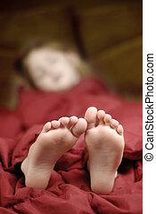 fötter, sova