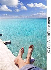 fötter, turkos, turist, strand, avslappnad, tropisk, pir