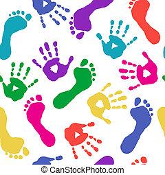 føder, malinger, printer, hænder