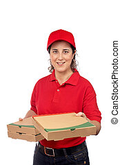 fødsel, kvinde, pizza