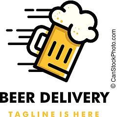 fødsel, logo, øl, konstruktion, ikon