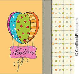 fødselsdag, balloons., card, glade