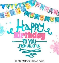 fødselsdag card, glade