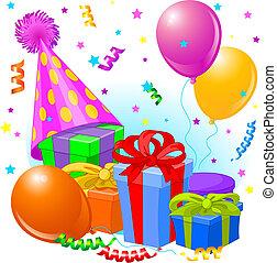 fødselsdag, dekoration, gaver