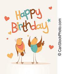 fødselsdag, elsk fugl, card, glade