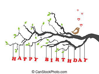 fødselsdag, fugl, card, glade