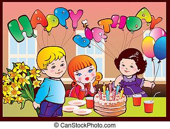 fødselsdag, gilde., glade