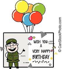 fødselsdag, mand, ønsker, glade, cartoon, militær