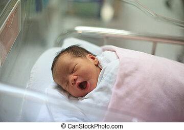 født, sovende, infant, tæppe, nye